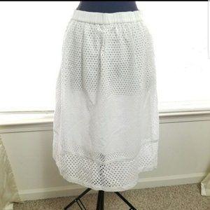 Madewell Trelliswork White Eyelet Midi Skirt